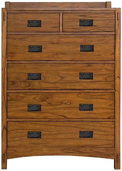 AAmerica Mission Hill Six Drawer Chest with Hammer Tone Textured Hardware