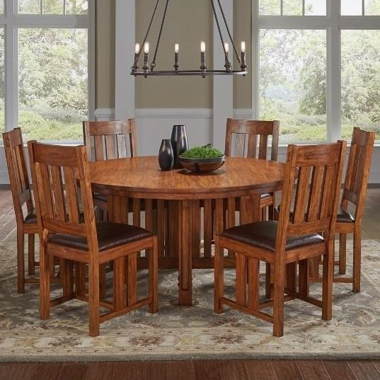 AAmerica Mission Hill 7 Piece Round Pedestal Table And Slat Back Chair Set