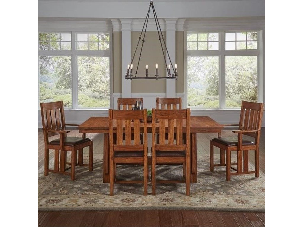 AAmerica Mission Hill7 Piece Trestle Table and Chair Set