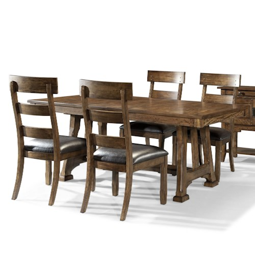 AAmerica Ozark Transitional 5 Piece Trestle Table and Plank Chair Set