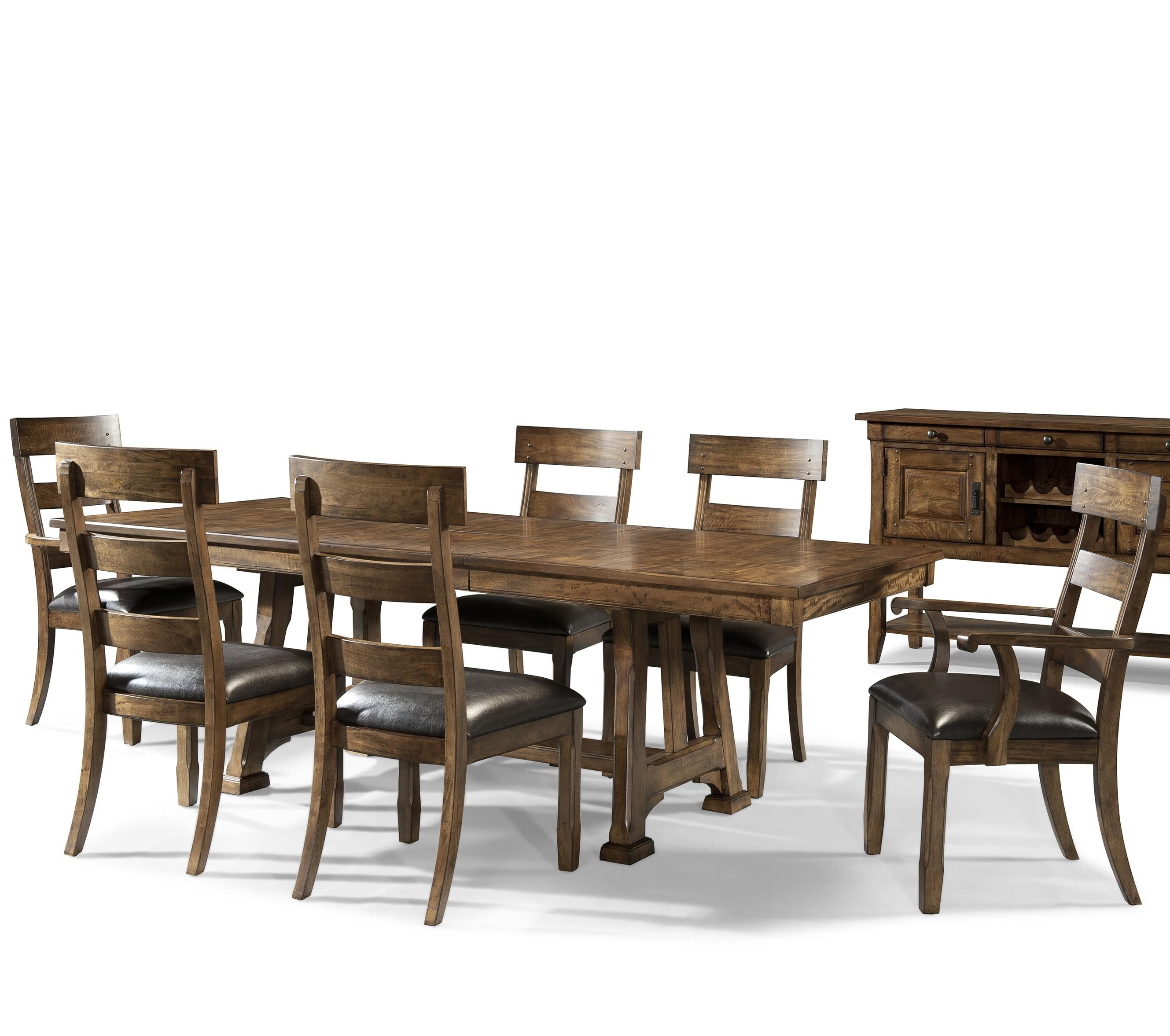 Transitional 7 Piece Trestle Table and Plank Chair Set