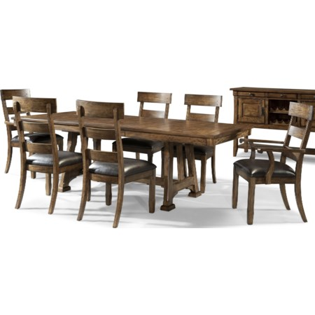 7 Piece Trestle Table and Chair Set