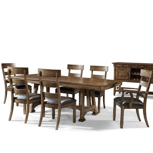 AAmerica Ozark Transitional 7 Piece Trestle Table and Plank Chair Set