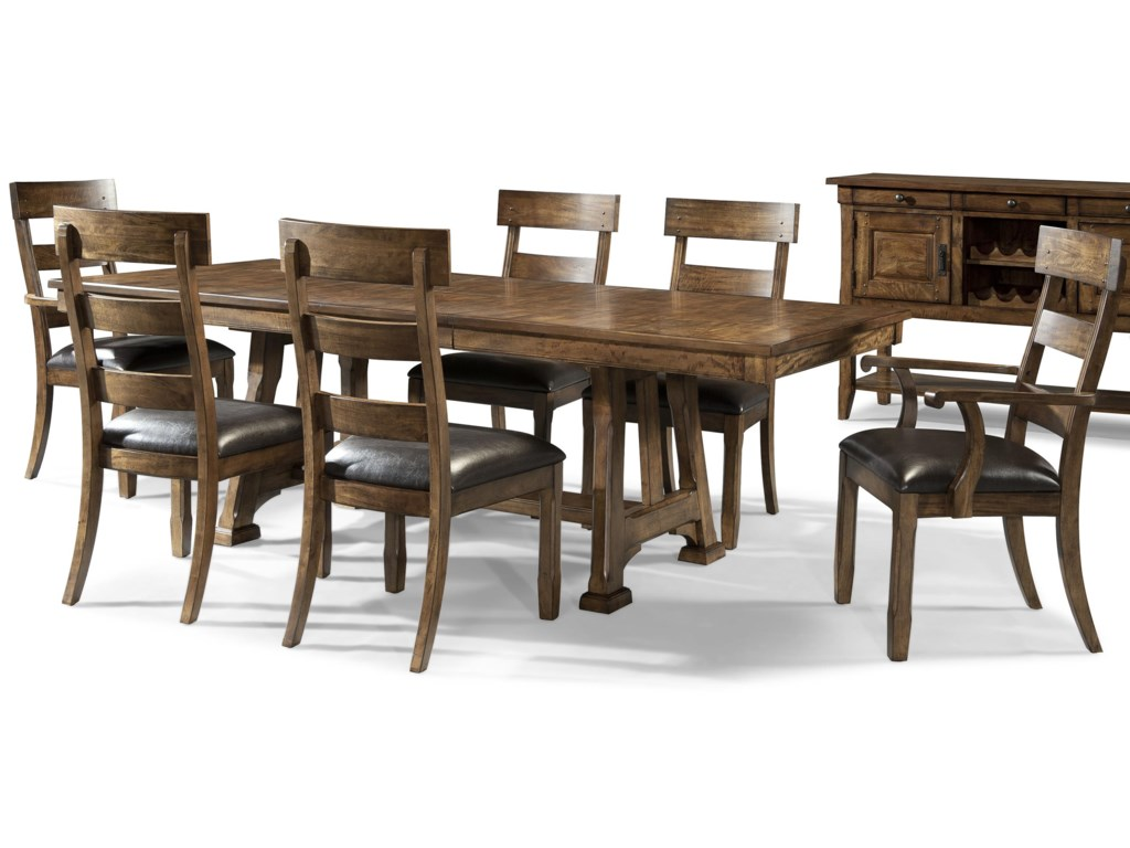 AAmerica Ozark7 Piece Trestle Table and Chair Set