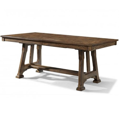 AAmerica Ozark Trestle Table with Plank Styling