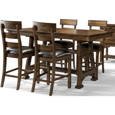 5 Piece Trestle Pub Table and Stool Set