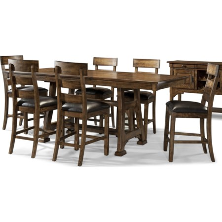7 Piece Trestle Pub Table and Stool Set