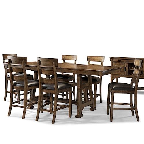 AAmerica Ozark Transitional 7 Piece Pub Table and Plank Stool Set