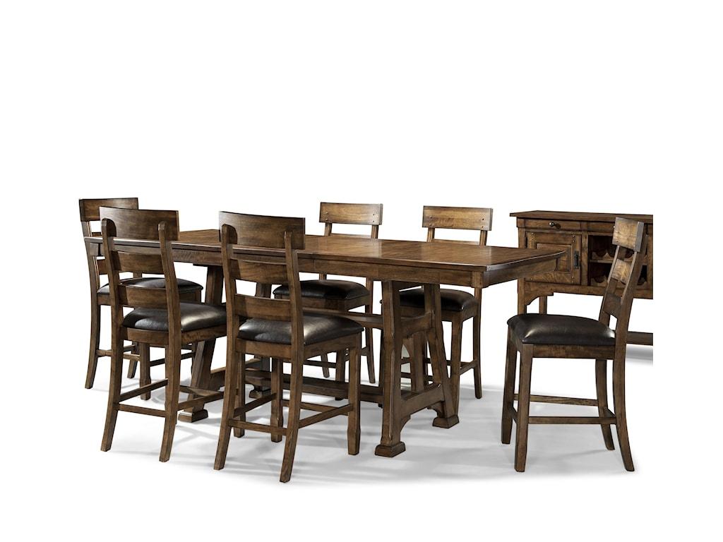 AAmerica Ozark7 Piece Trestle Pub Table and Stool Set