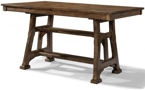 AAmerica Ozark Gathering Height Trestle Table with Shelf