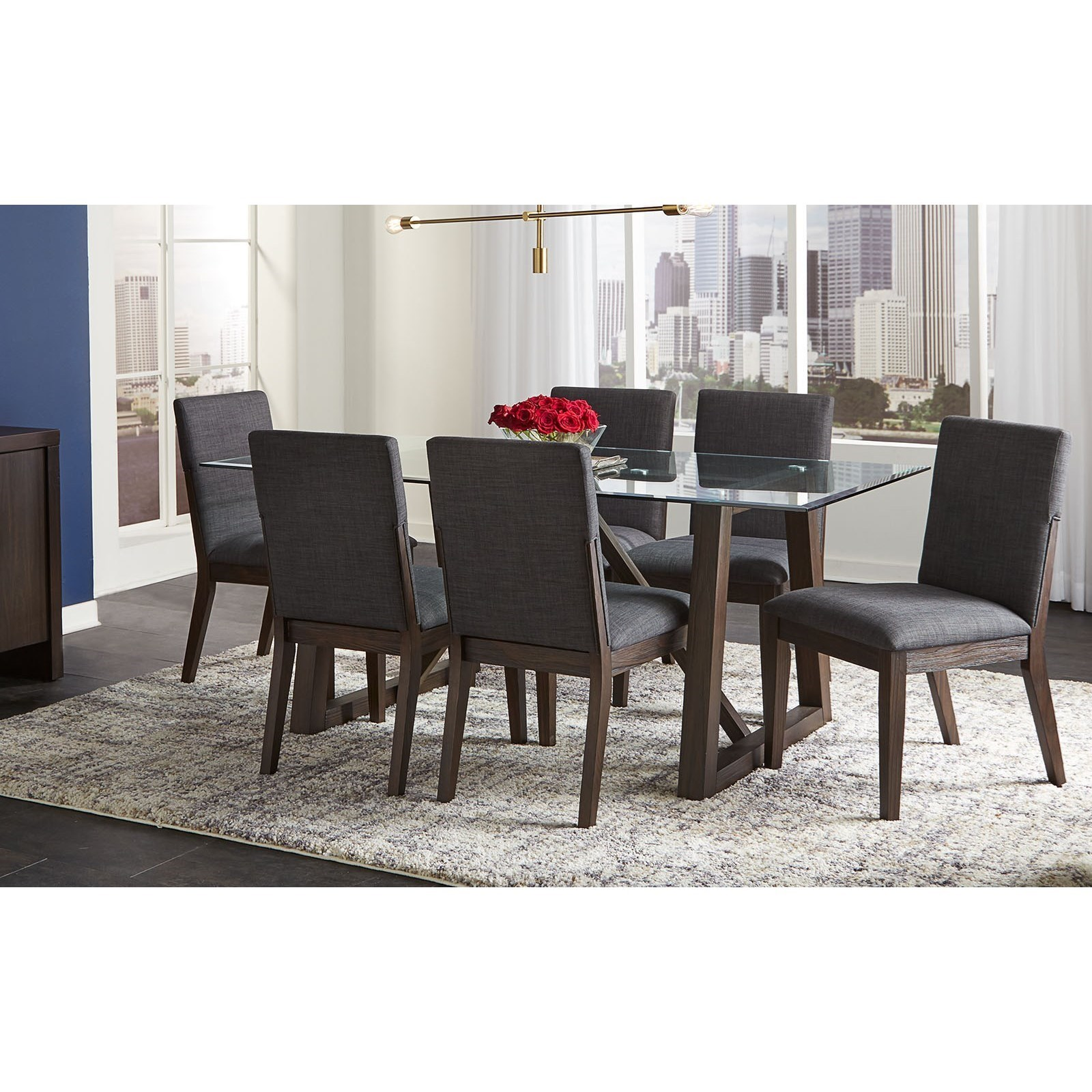 Picture of: Aamerica Palm Canyon 7 Piece Contemporary Dining Room Table Set With Glass Table Top Wayside Furniture Dining 7 Or More Piece Sets
