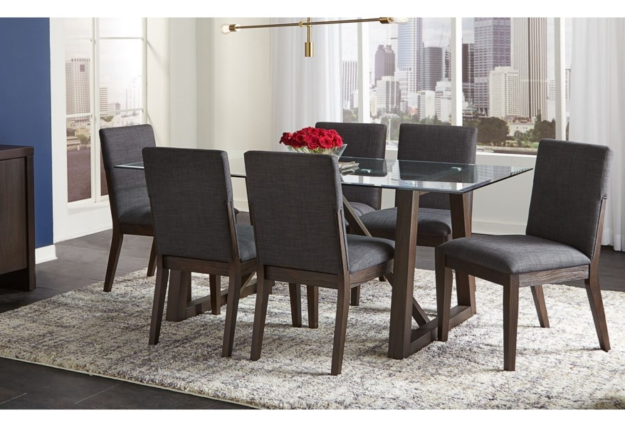 Aamerica Palm Canyon 7 Piece Contemporary Dining Room Table Set With Glass Table Top Zak S Home Dining 7 Or More Piece Sets