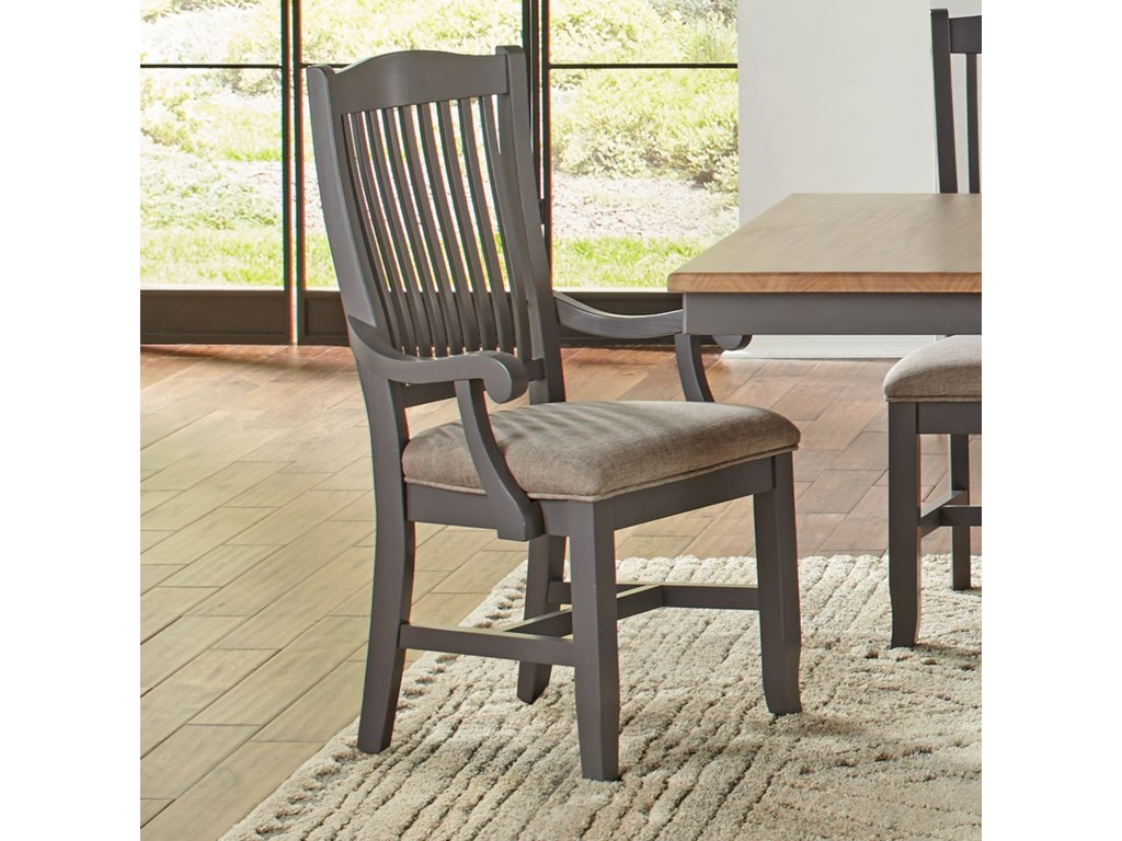 AAmerica Port TownsendSlatback Arm Chair with Upholstered Seat