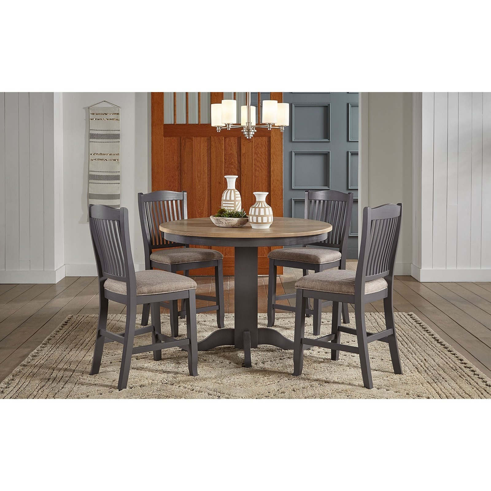 5-Piece Round Gathering Height Table and Upholstered Chair Set