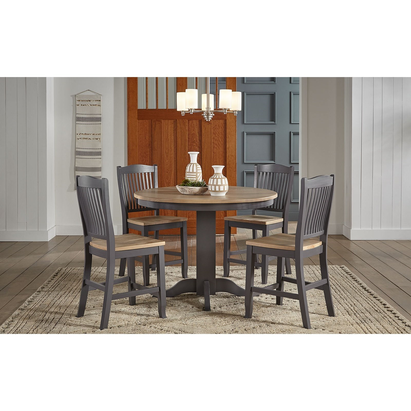 Picture of: Aamerica Port Townsend 5 Piece Round Gathering Height Table And Chair Set Conlin S Furniture Pub Table And Stool Sets