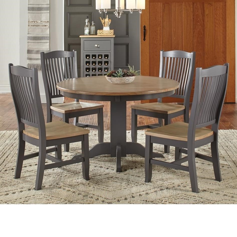 5 Pc Table & Chair Set- (Round Table & 4 Side Chairs)