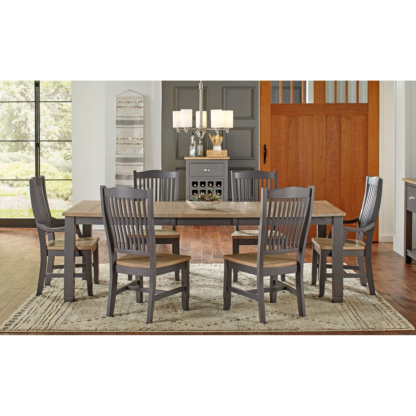 7 Pc Table & Chair Set- (Rectangle Table, 4 Side Chairs & 2 Arm Chairs)