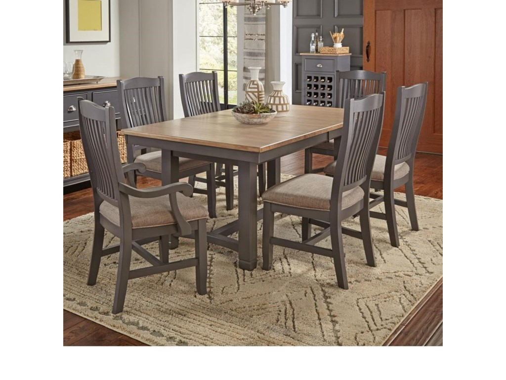 AAmerica Port Townsend Pc Table Chair Set Trestle Table - Black dining room table and chair sets