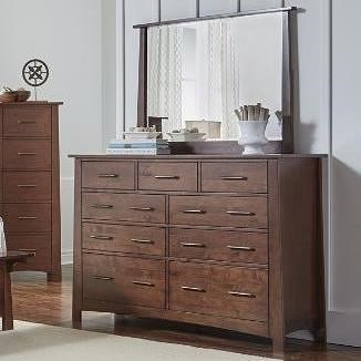 AAmerica Sodo Nine Drawer Dresser and Mirror Set