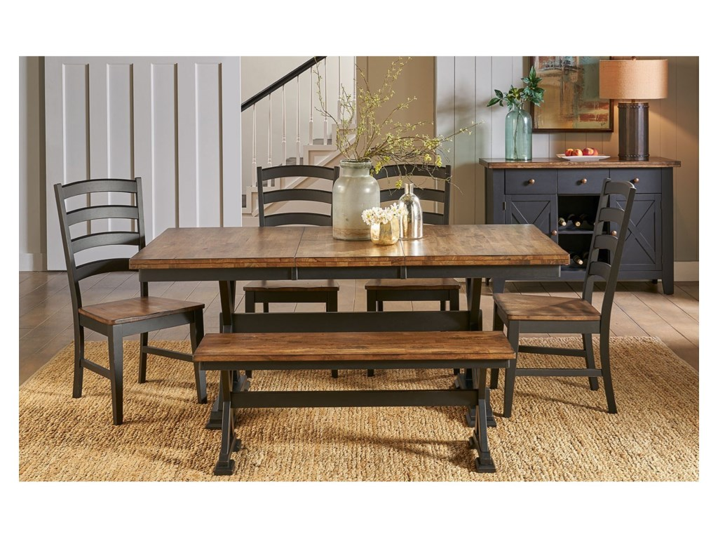 Stone Creek Rustic Solid Wood Trestle Table with 18