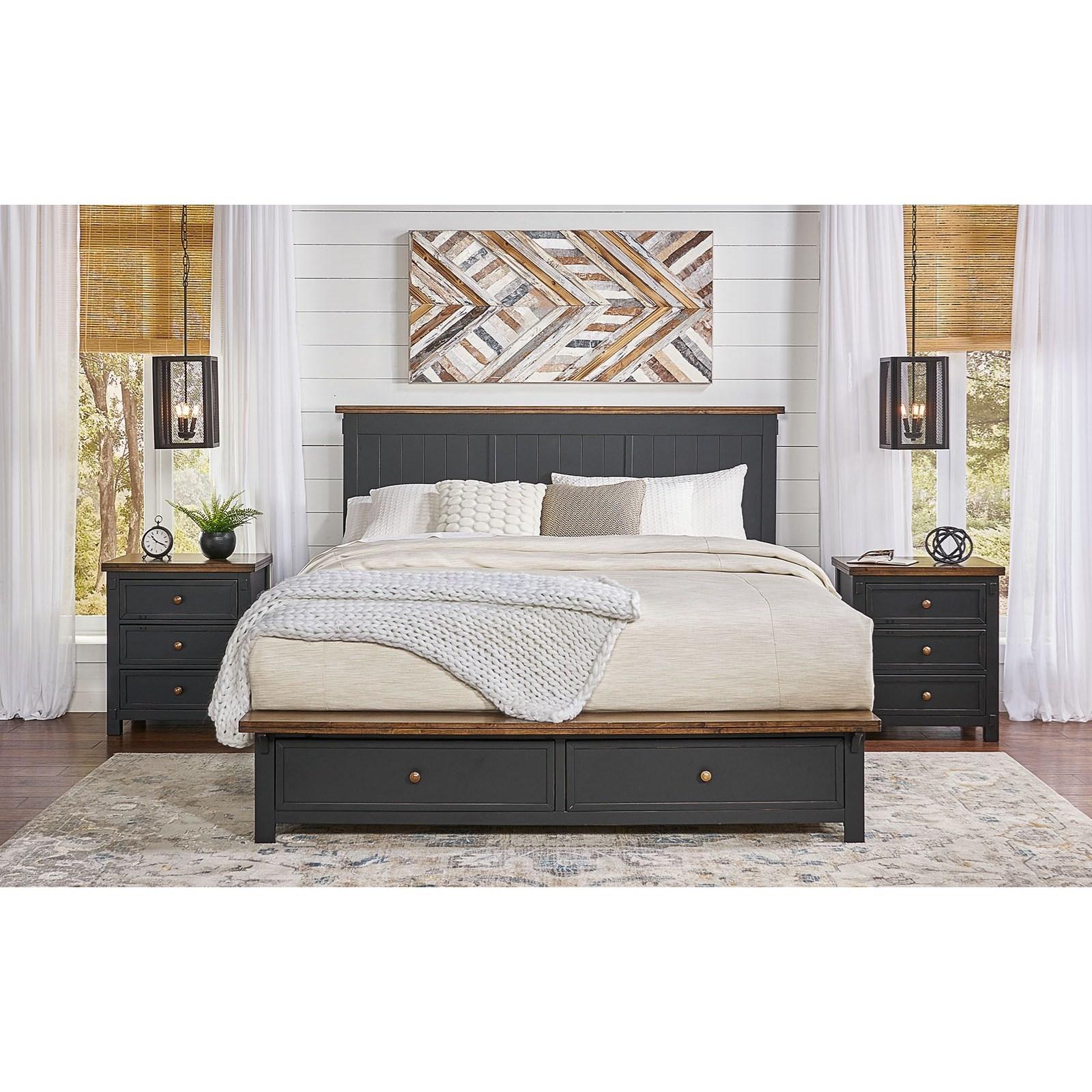 Rustic King Storage Bed