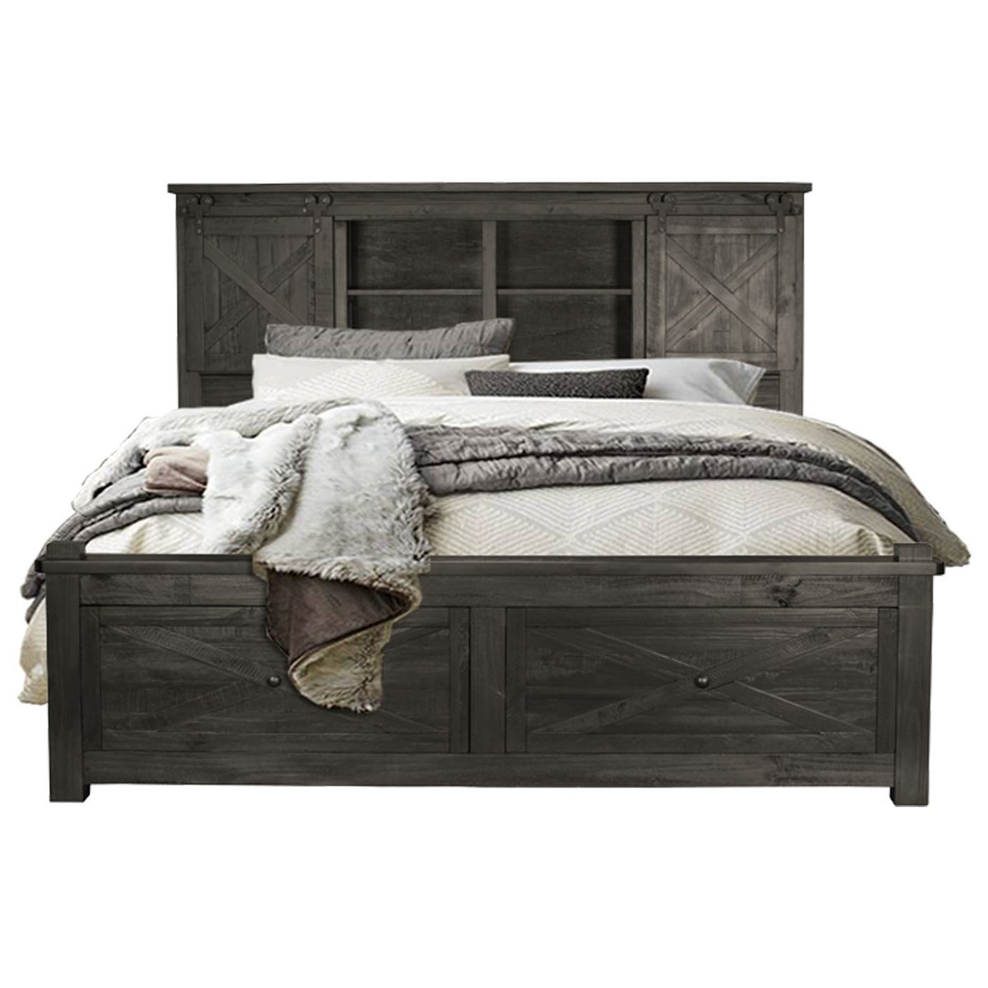 Queen Bookcase Bed with Footboard Storage