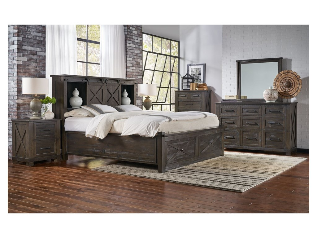 AAmerica Sun ValleyKing Storage Bed with Footboard Bench