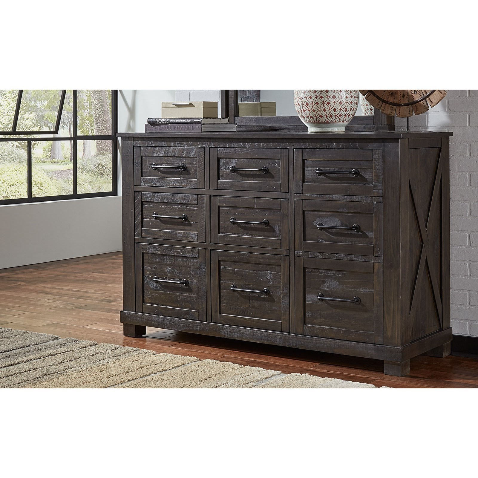 9 Drawer Dresser with Felt Lined Top Drawers