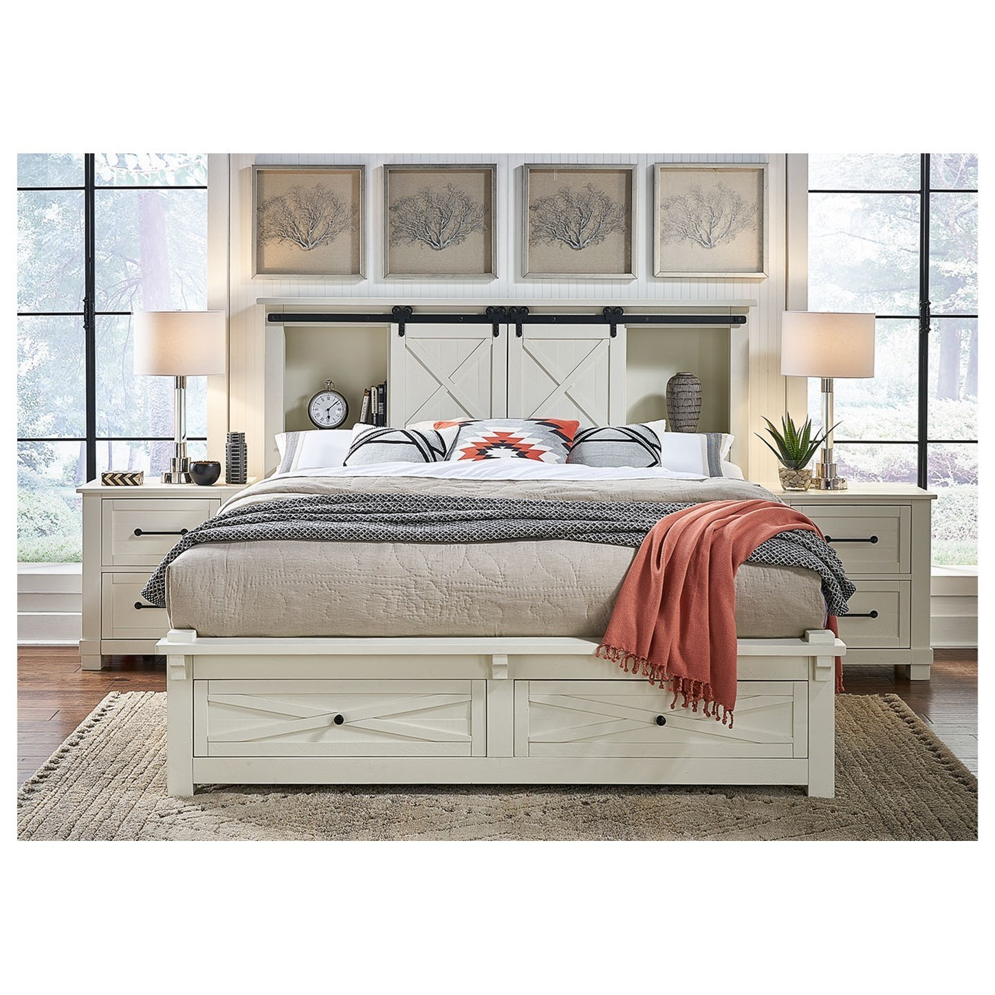 King Bookcase Bed with Footboard Storage