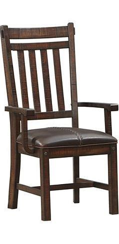 Sundance Slatback Arm Chair With Upholstered Seat By AAmerica