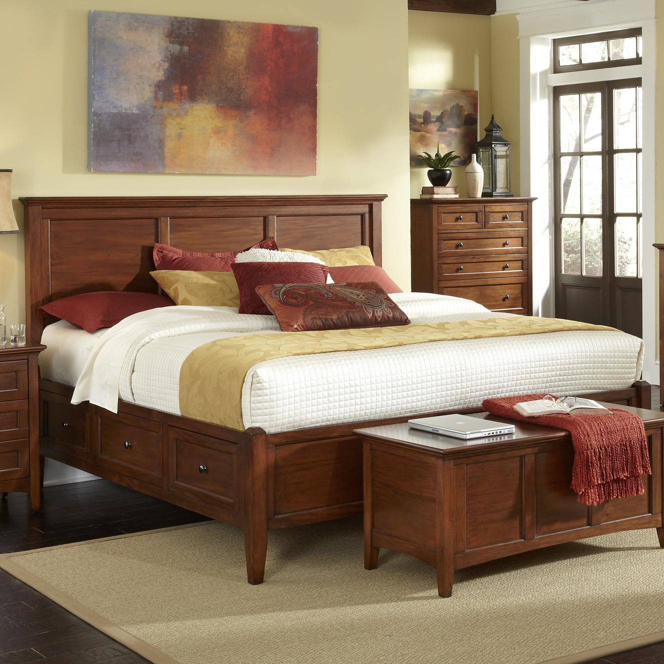 Aamerica Westlake Transitional Queen Bed With 6 Storage Drawers Conlin S Furniture Platform Beds Low Profile Beds