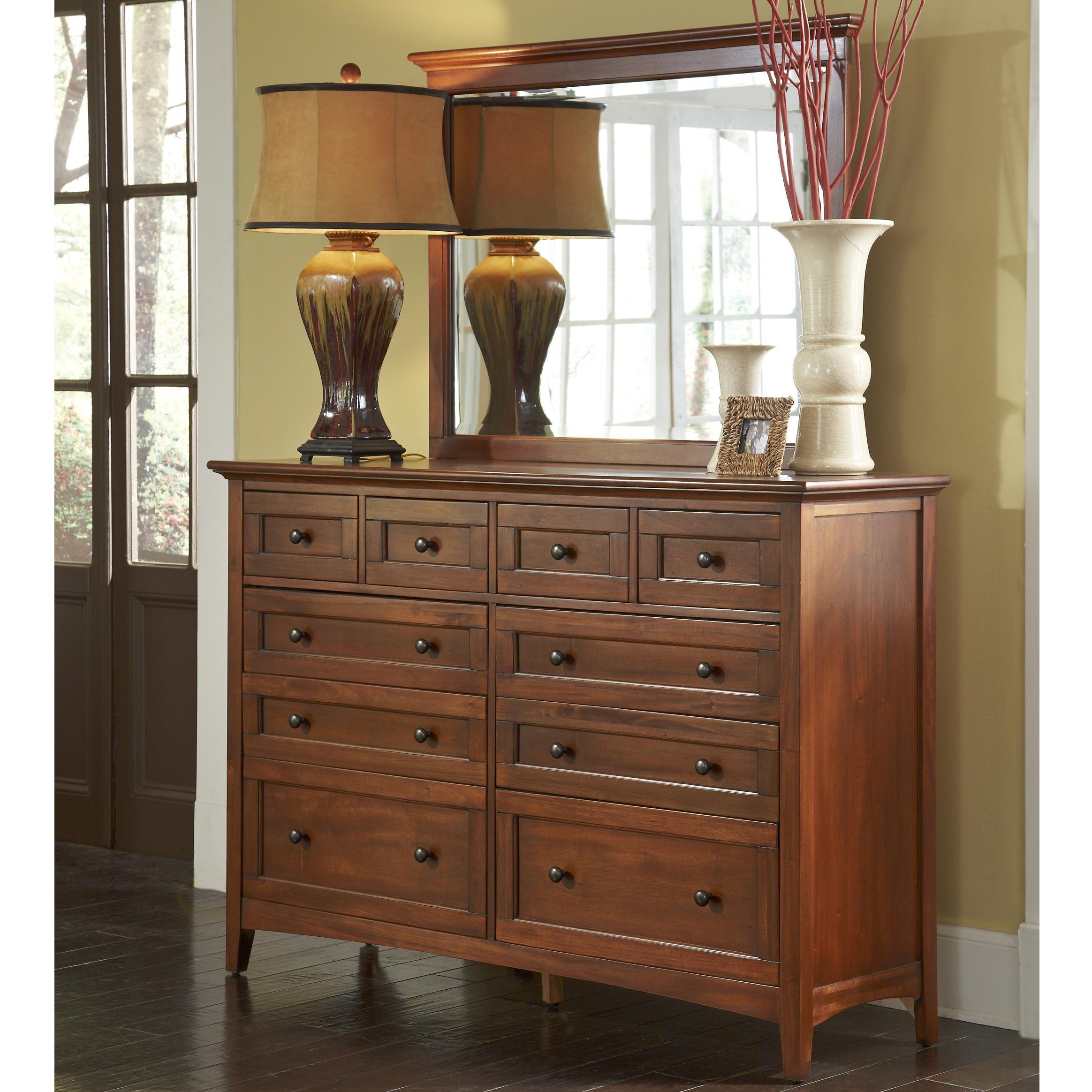 Transitional 10-Drawer Dresser with Landscape Mirror