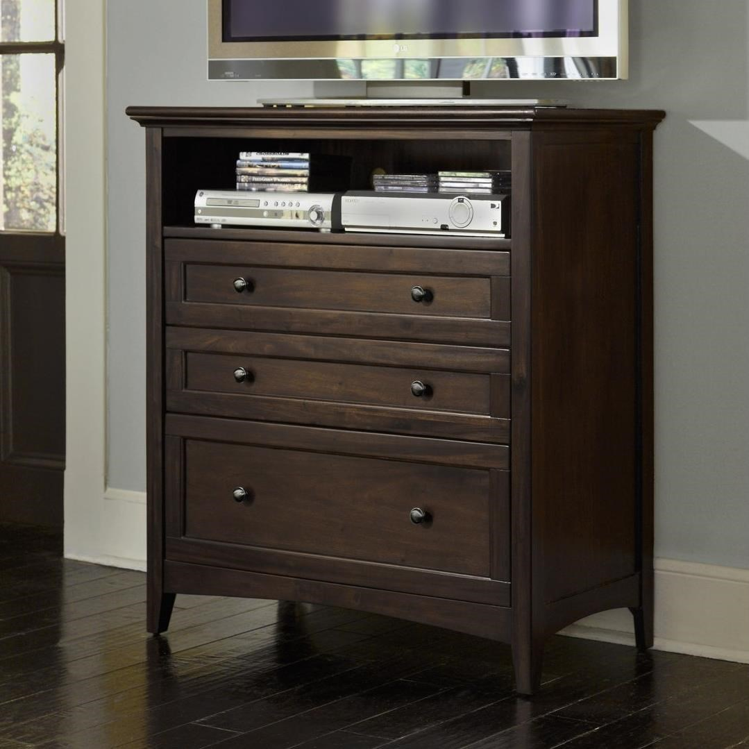 Transitional 3-Drawer Media Chest with Cord Management