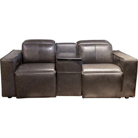 Mylie Leather Match Power Loveseat
