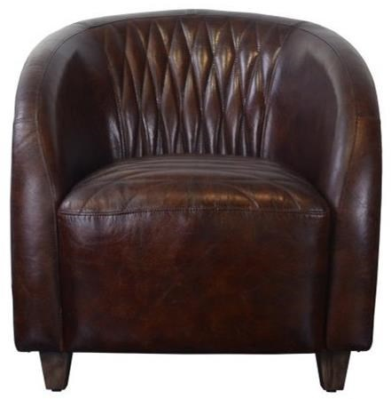 Pulaski Accentrics Home Accent Chairs Copper Wrapped Quilted Brown Leather  Chair