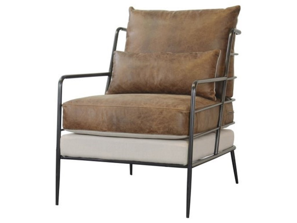 Accentrics Home Accent ChairsBrown Leather & Fabric Metal Frame Chair