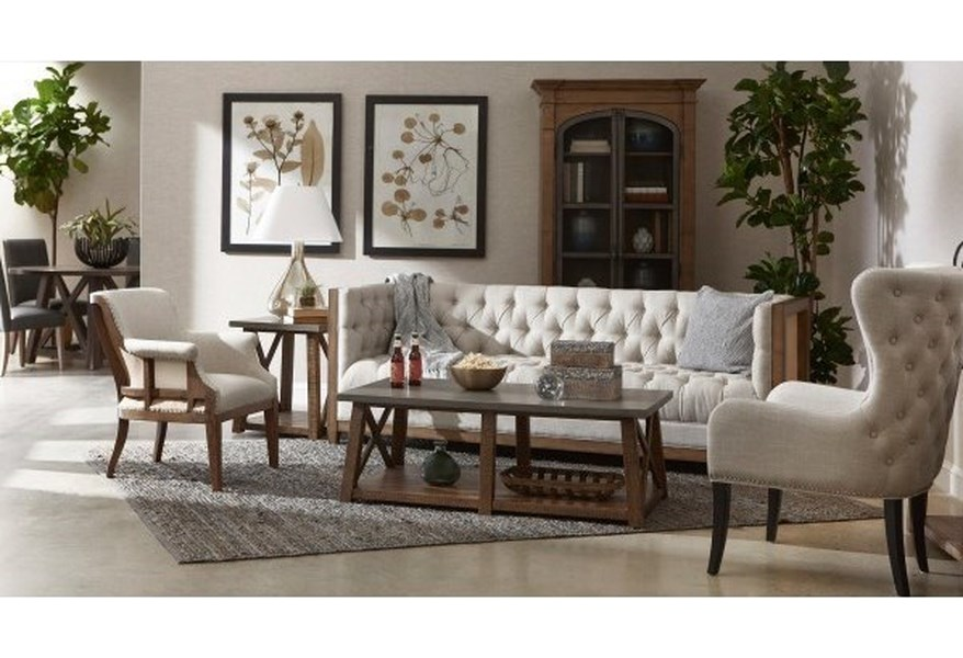 Accentrics Home Accent Chairs Deconstructed Arm Chair In Linen Fabric Lindy S Furniture Company Exposed Wood Chairs
