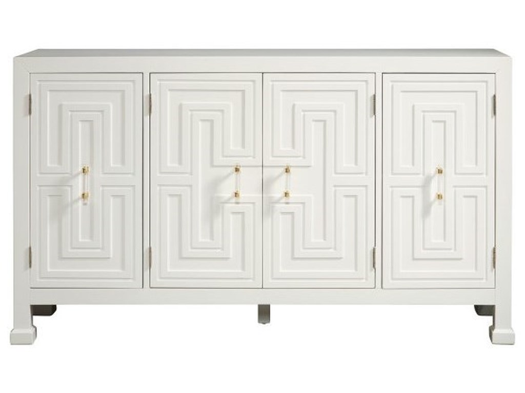 Accentrics Home Sideboards and BuffetsModern Geometric White 4 Door Credenza