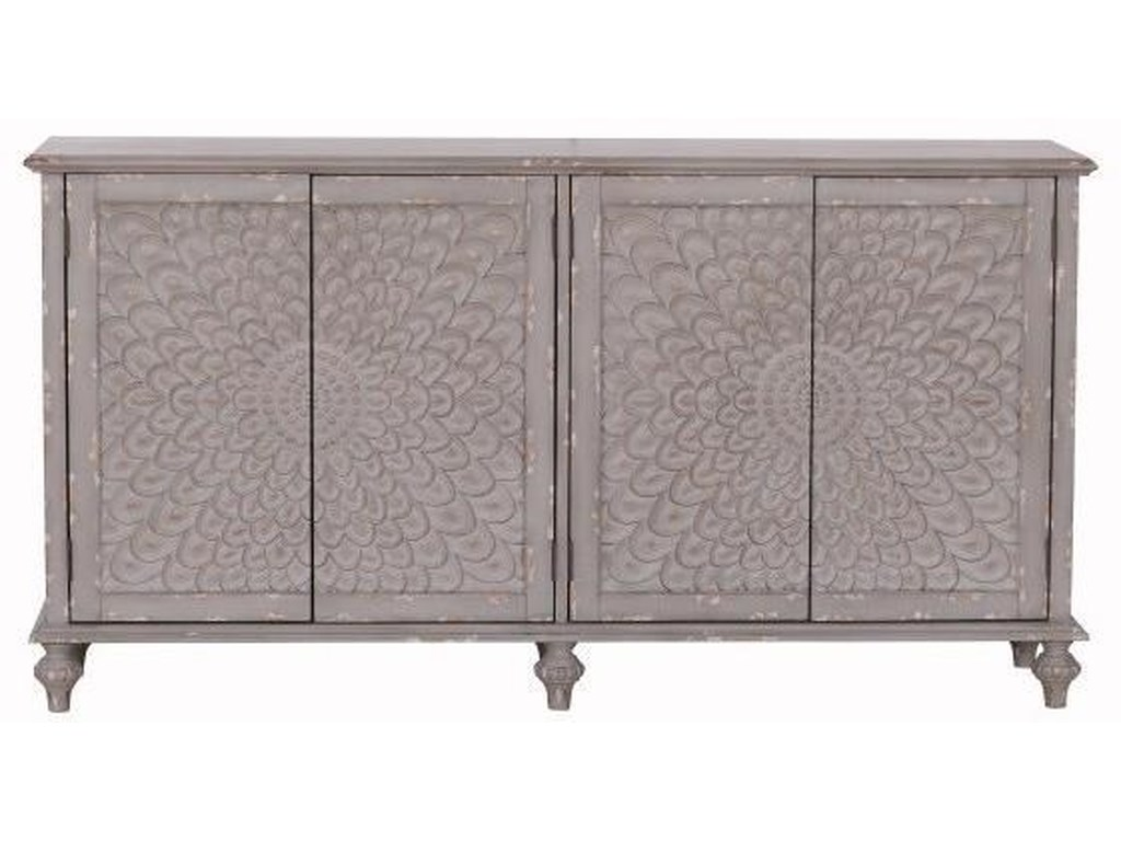 Pulaski Accentrics Home Sideboards and Buffets4 Door Gray Carved Console
