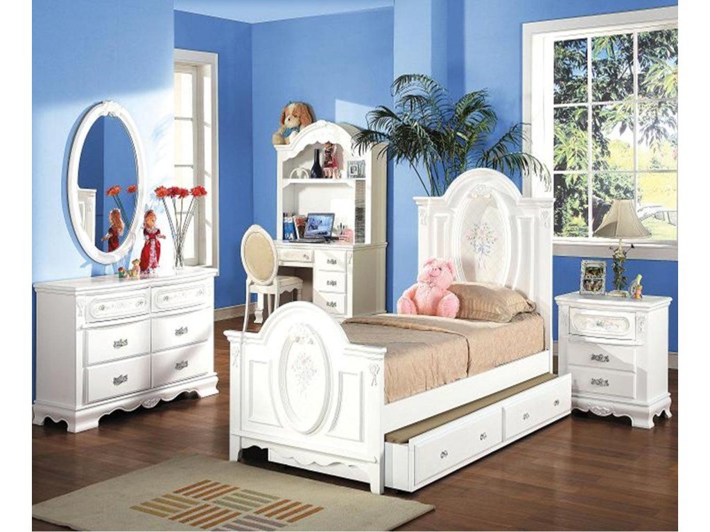 Shown in Room Setting with Dresser, Mirror, Desk, Hutch and Bed