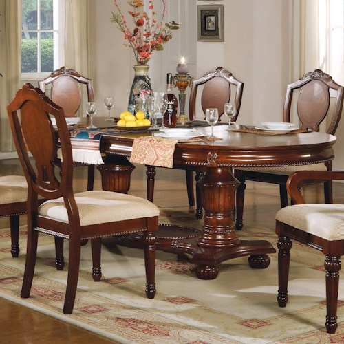 Acme Furniture 11800 Traditional Oval Double-Pedestal Table