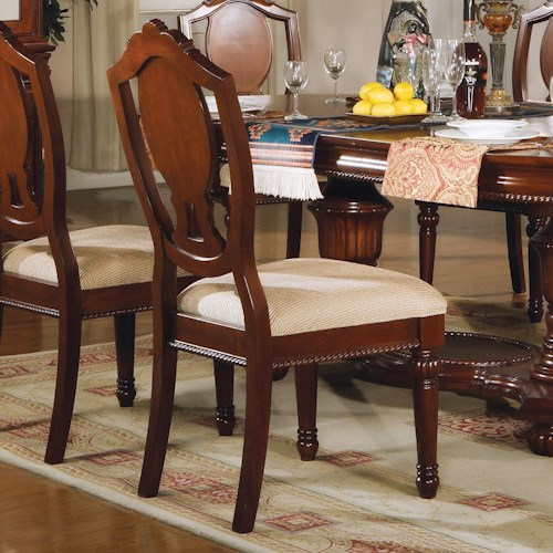Acme Furniture 11800 Traditional Splat-Back Side Chair with Upholstered Seat