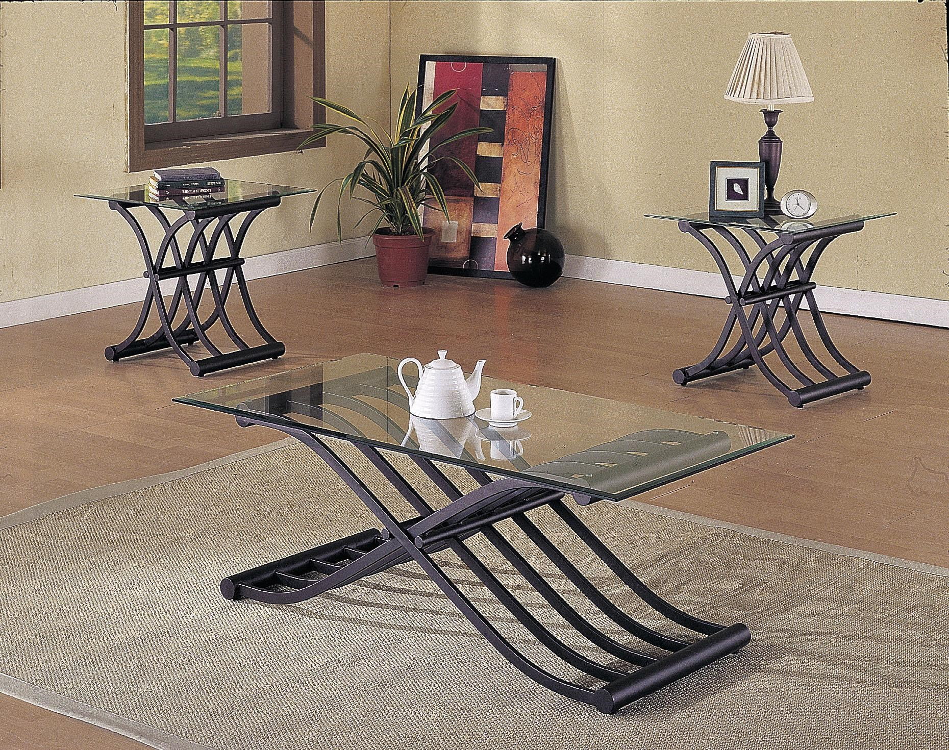 Acme Furniture 2708 X Shaped Fold Out Wave Base 3 Piece Coffee/End Table