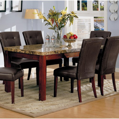 Acme Furniture 7045 Rectangular Dining Table with Marble Top