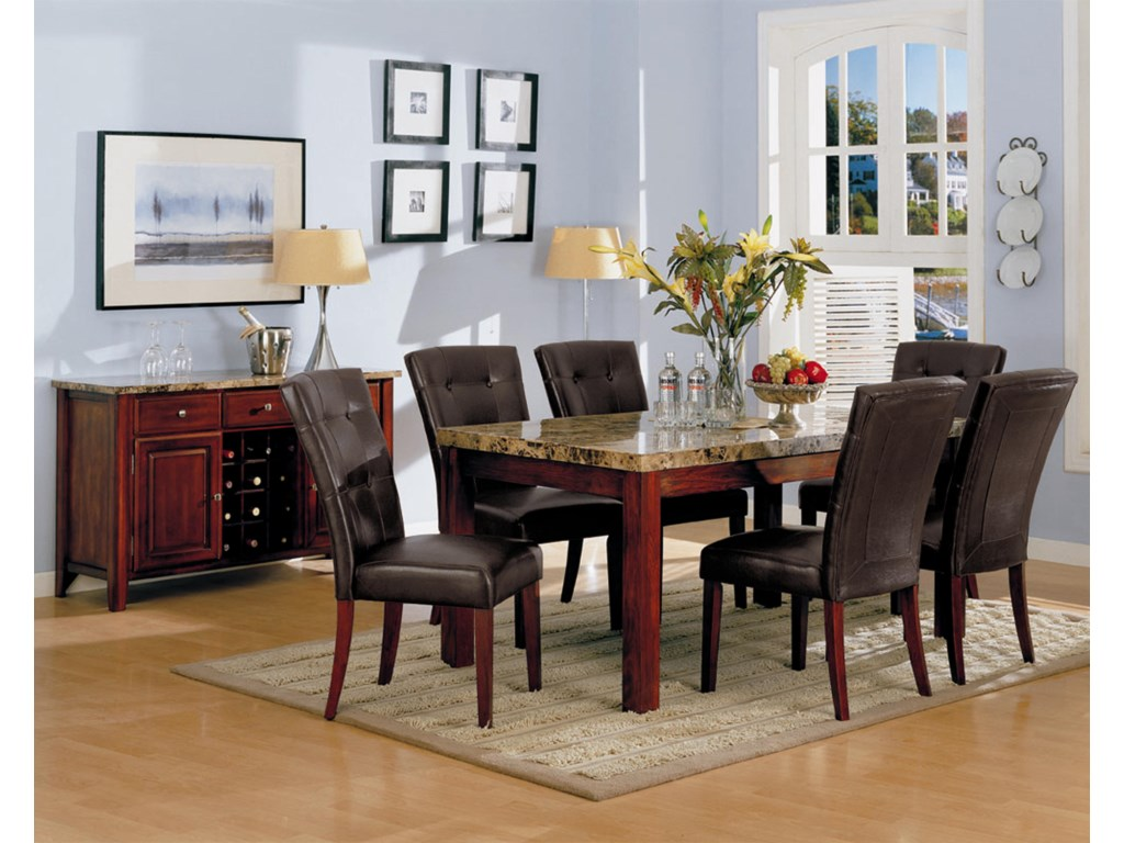 Shown in Dining Room with Coordinating Side Chairs and Buffet.
