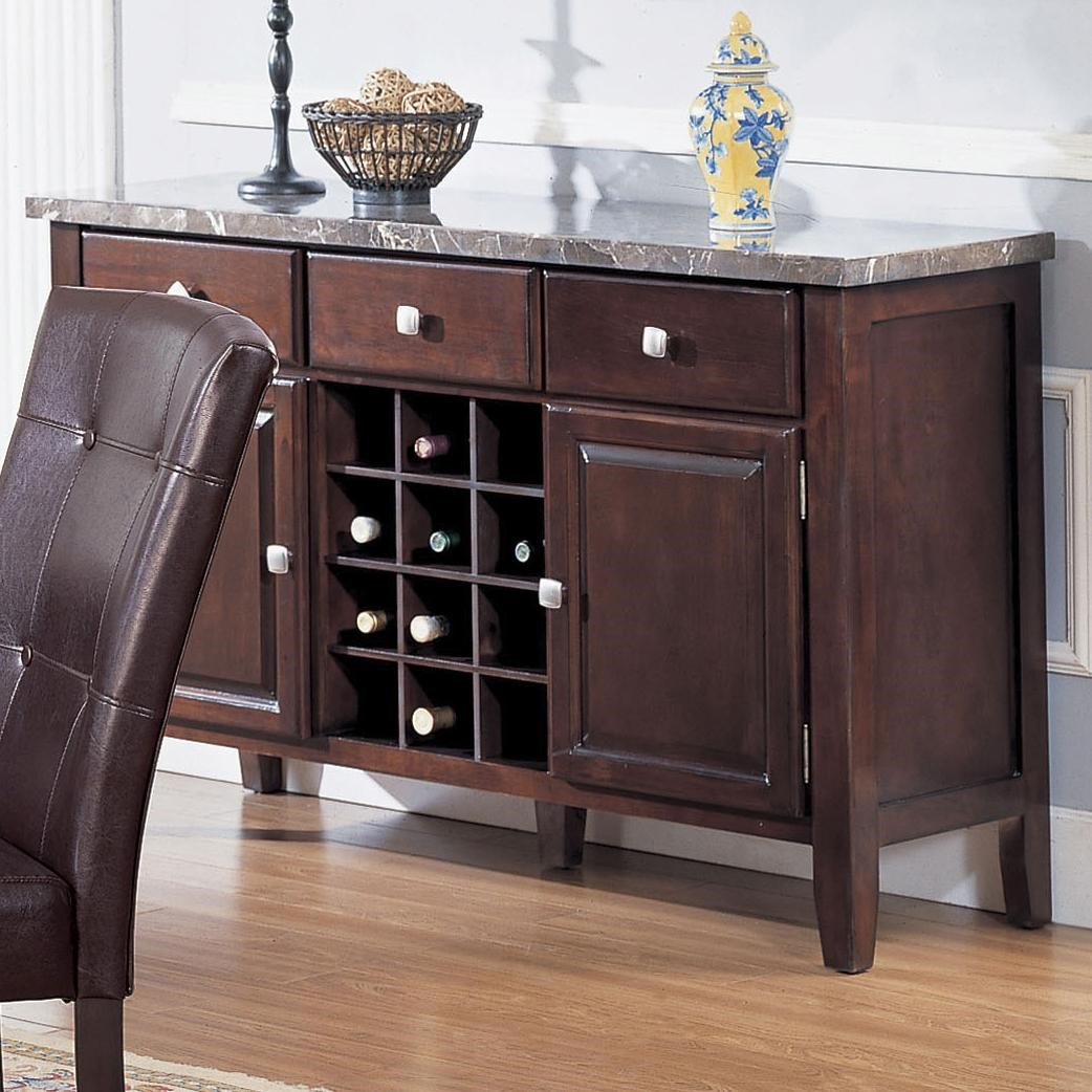 acme furniture 7058 07057 server with black marble top and wine rack rh delsolfurniture com marble top buffet table dining room marble top buffet used columbus, ohio