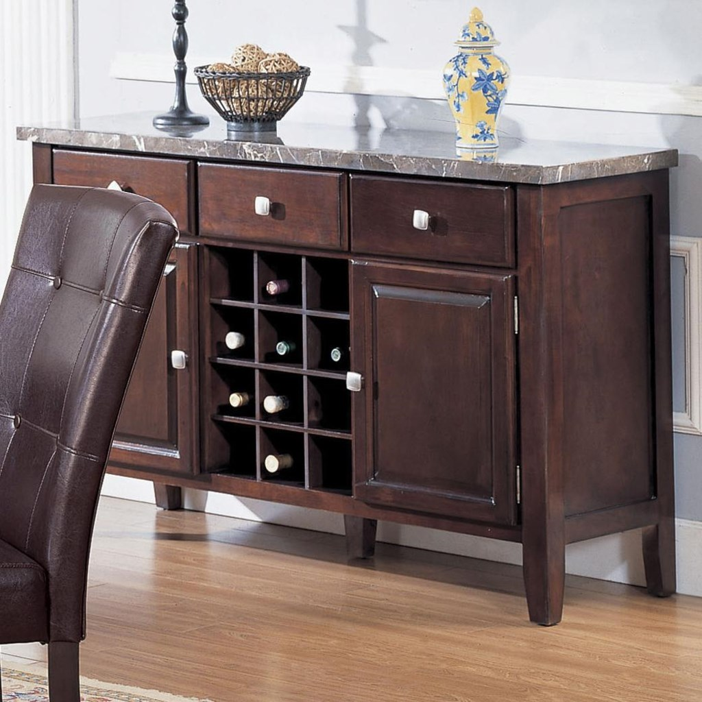 marble top buffet table Acme Furniture 7058 07057 Server with Black Marble Top and Wine  marble top buffet table