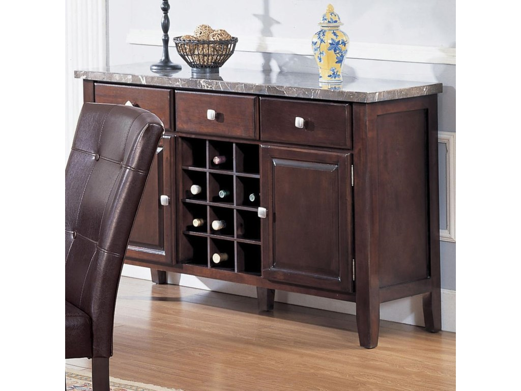 Acme Furniture 7058 Server With Black Marble Top And Wine Rack
