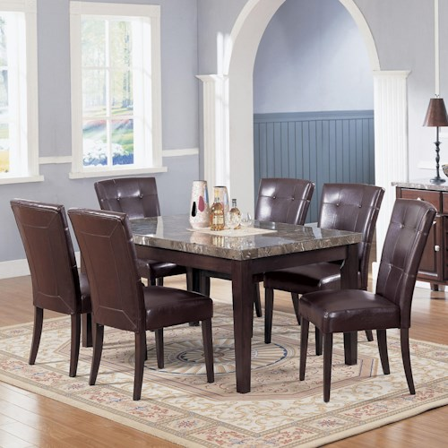 Acme Furniture 7058 Danville Black Marble Top Seven Piece Dining Set