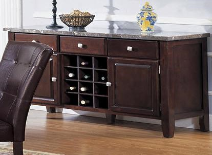 Acme Furniture Canville Espresso Buffett Server with Marble Top